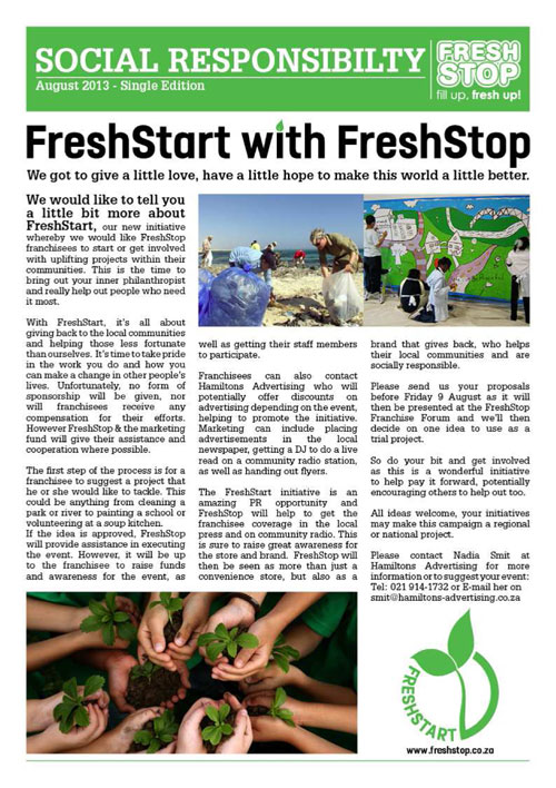 FreshStart with FreshStop Newsletter